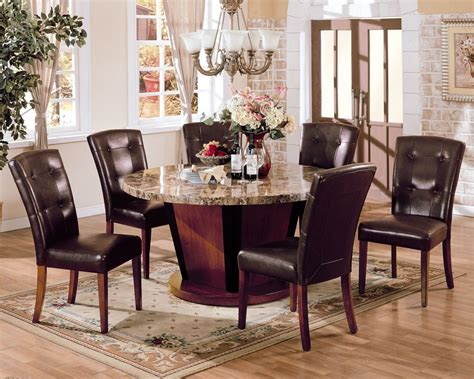 marble breakfast table sets bologna brown marble top round dining table set pu leather