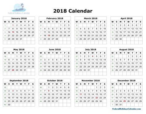 2018yearlycalendar Copy  Calendar Printable With