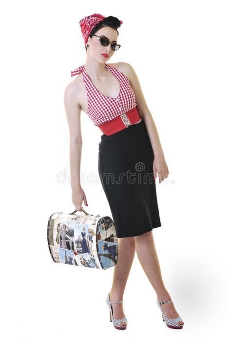 Isolated Woman With Travel Bag Stock Image  Image Of