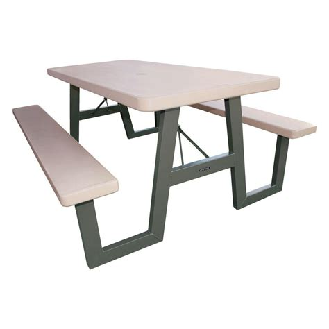lifetime folding picnic table lifetime 57 in x 72 in w frame folding picnic table