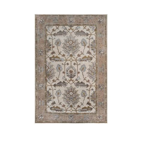 allen roth rugs shop allen roth southminster rectangular cream floral hand hooked wool area rug common 9 ft