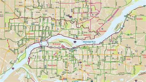 updated quad cities bike map  ride