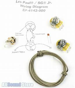 Wiring Kit For Gibson U00ae Les Paul    Sg Jr Complete W Diagram Cts Pots Switchcraft U00ae