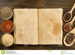 Open Vintage Book With Spices On Wooden Background ...