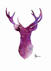 Abstract Deer Head Artwork For Sale Painting by Joanna Szmerdt