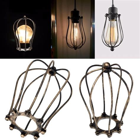 Vintage Iron Wire Bulb Cage Lampshades Hanging Lamp Holder