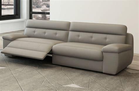 vente prive canape canapé 3 places relaxation en cuir italien gris