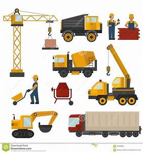 Building Under Construction, Workers And Stock Vector ...