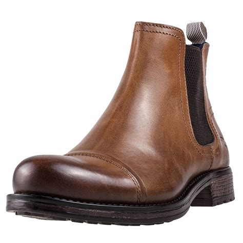 Mustang Ankle Boot Mens Chelsea Boots in Cognac