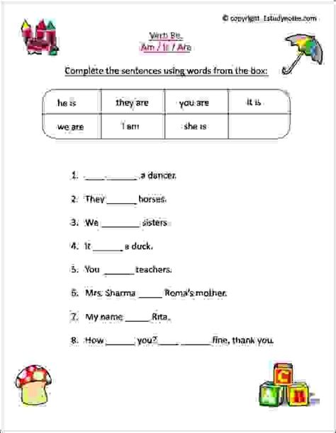 worksheets for class 1 to practice verbs is