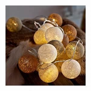 Déco Guirlande Lumineuse : guirlande lumineuse boules coton color bolette ~ Preciouscoupons.com Idées de Décoration