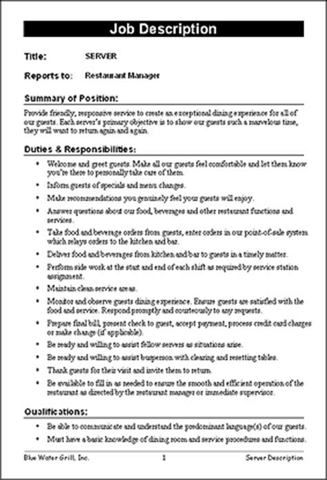 restaurant job description templates   job description restaurant jobs product description