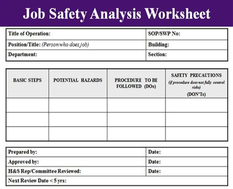 job safety analysis examples  word pages examples