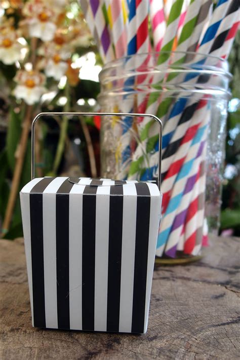 mini black white striped takeout boxes   boxes