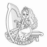 Harp Coloring Wood Illustrations Princess Outlined Playing Clip Vector Inlay Inlaid Celtic sketch template