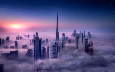 Cityscape, Burj Khalifa, Dubai, City, Sunrise, Mist