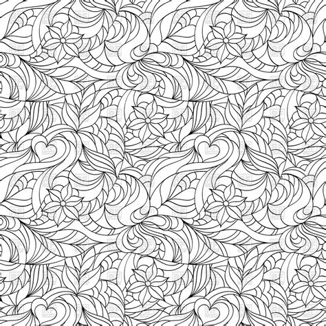 abstract floral seamless pattern coloring page  adult