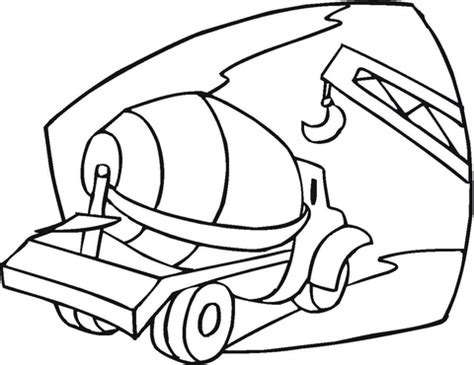 cement mixer   building site coloring page  printable coloring pages