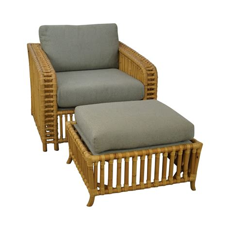 quality rattan bamboo lounge chair with ottoman chairish