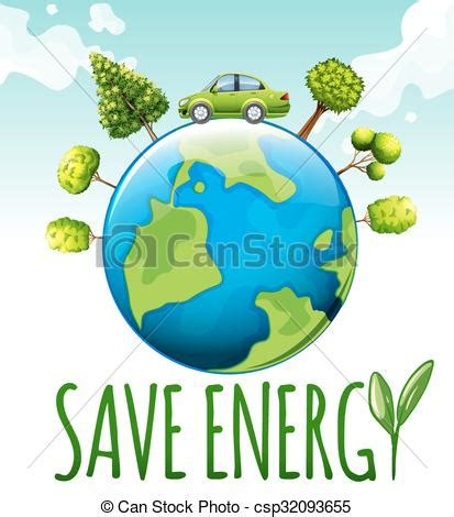 clipart vector  save energy theme  car  trees