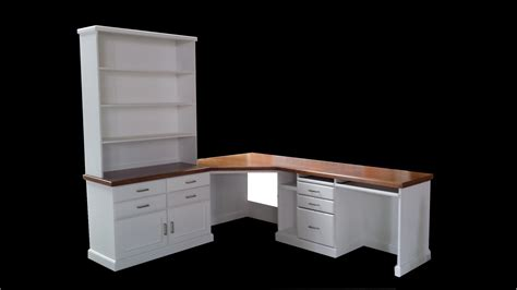 white and wood desk large custom white wood corner desk with tall hutch and