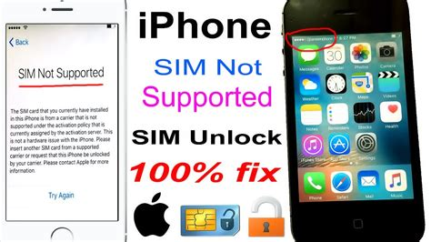 how to unlock sim on iphone how to unlock any network sim not supported iphone 100