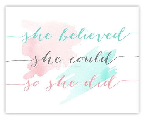 printable quote watercolor quote she believed she could so