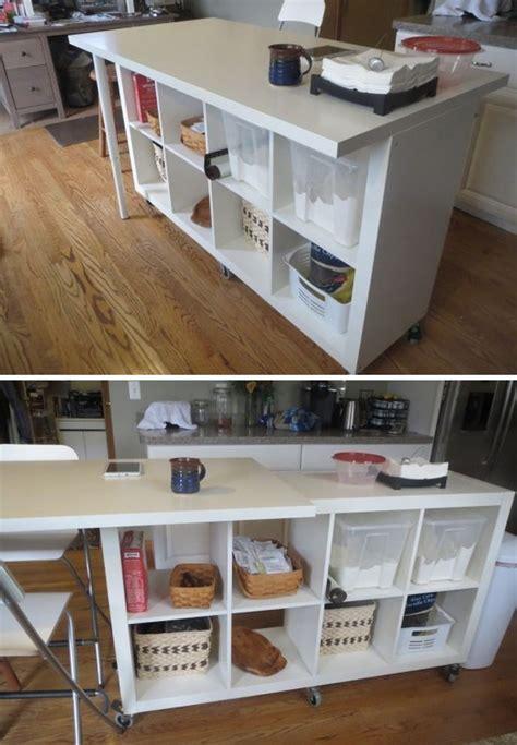 IKEA hacks : marble table Shelve seat Shelve on wheels