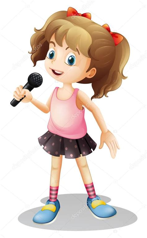 Canción de niña cantando Vector de stock