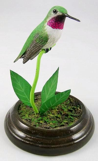 broad tailed hummingbird hand carved wooden bird darby