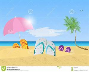 Beach Scene Illustration stock vector. Image of sandals ...