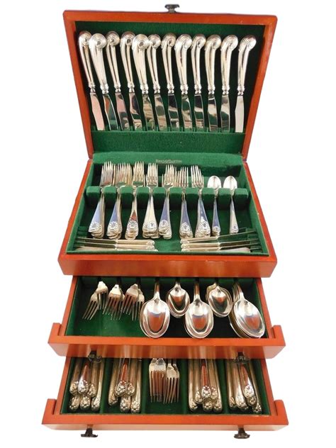 brothers sterling silver crichton shell english flatware service