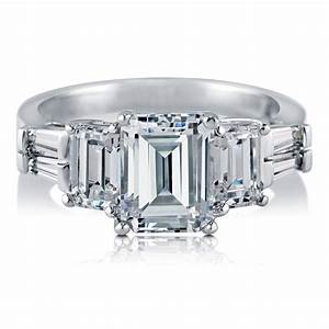 berricle sterling silver emerald cut cz 3 stone engagement With emerald cut cz wedding rings