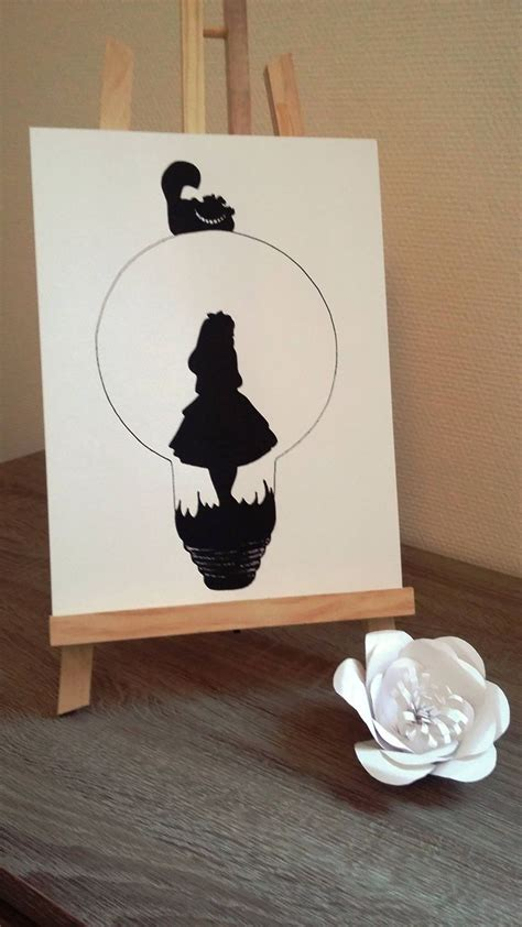poster illustration black  white bulb alice