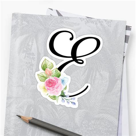 floral monogram fancy script letter  sticker  grafixmom redbubble
