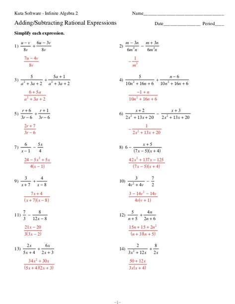 adding and subtracting polynomials worksheet with answers
