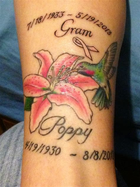 hummingbird memorial tattoo   grandparents isnt