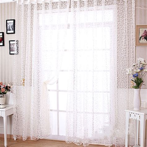 modern floral tulle window curtain drape panel sheer scarf