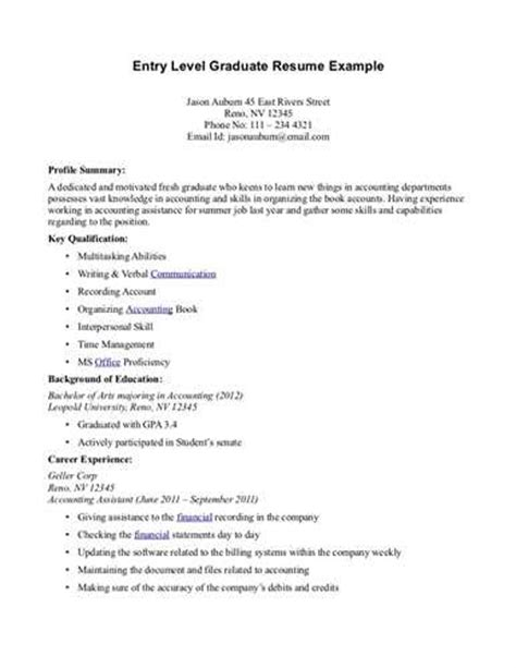 Resume Summary Exles For Entry Level by Entry Level Resume Summary Exles Related