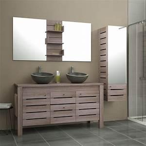 Meuble De Salle : meuble de salle de bains plus de 120 brun marron moorea leroy merlin ~ Nature-et-papiers.com Idées de Décoration