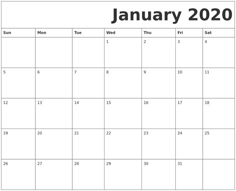 printable january  calendar  blank templates