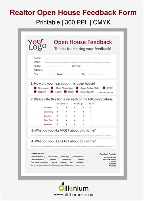 broker open house feedback form real estate open house feedback form for realtors open