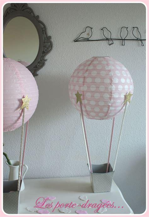 deco bapteme fille rose montgolfiere dore deco bapteme