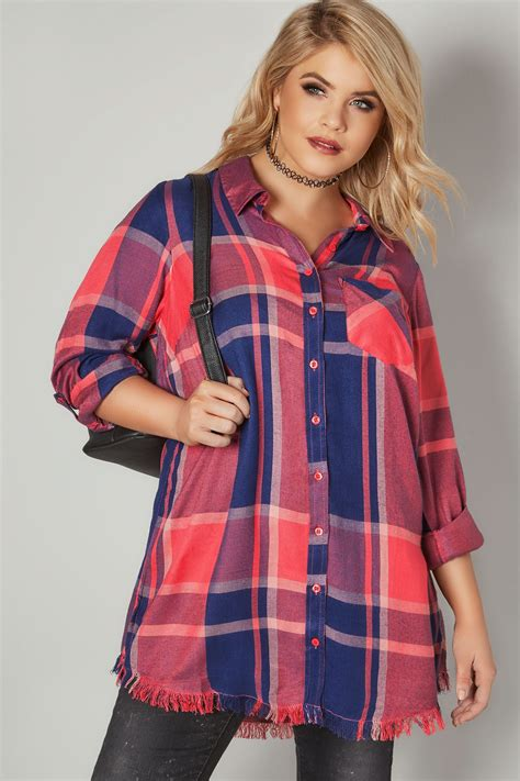 Limited Collection Coral Checked Shirt With Frayed Hem