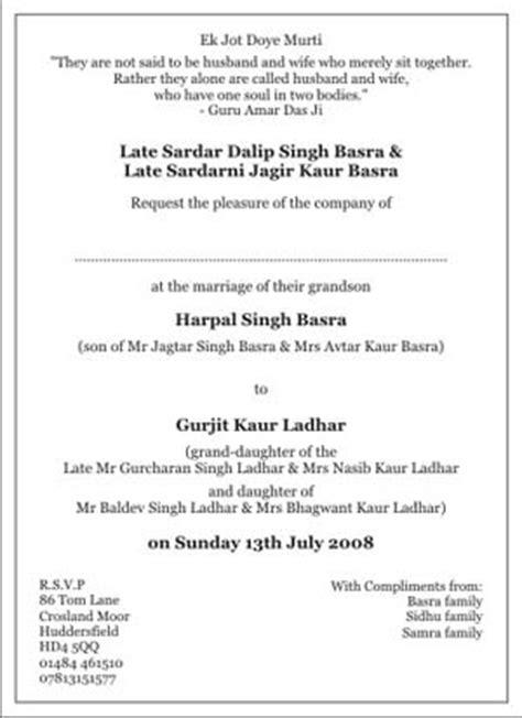 sikh wedding invitation wordingssikh wedding wordings