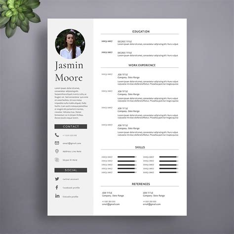 Free Cv Templates To Use by 1 Page Professional Cv Template Instant