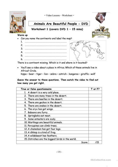 6 Video Worksheets  Animals Are Beautiful People Worksheet  Free Esl Printable Worksheets Made