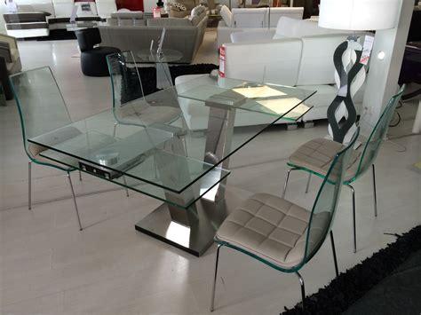 bout de canapé design table repas design verre extensible vinci eda concept