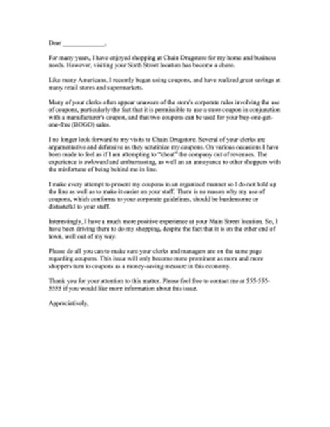 clerks rude  coupons complaint letter