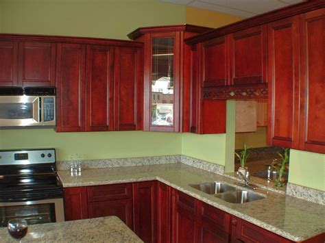 Green Wall And Red Cabinets Popular Paint Colors For Kitchen